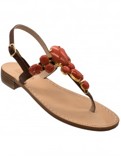 positano sandals with coral