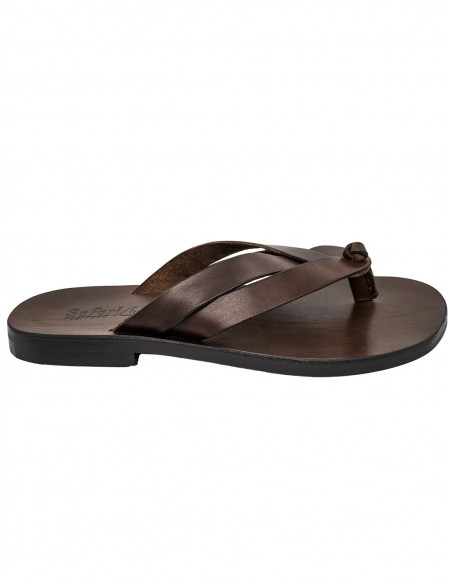 capri man sandals brwon strip