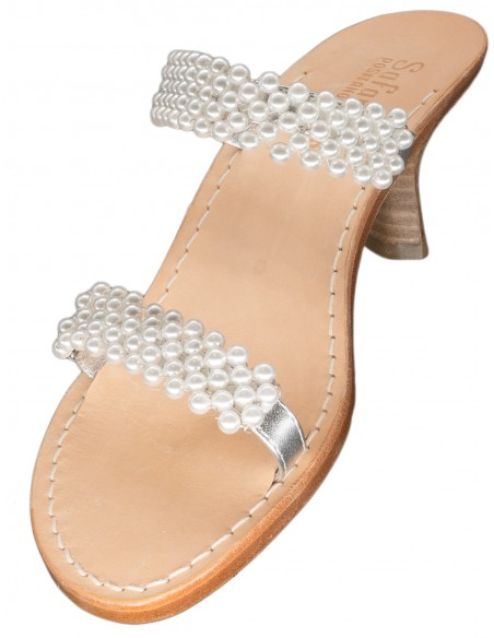 handmade capri sandals pearls two strips